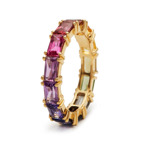 Colorful Cuboid Gold Ring
