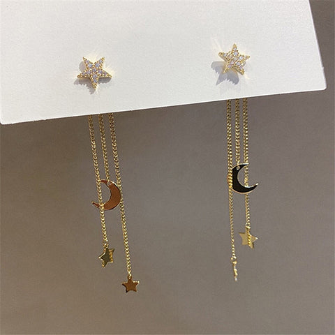 2021 New Crystal Trendy Exquisite Moon & Star Long Dangle Earrings For Women