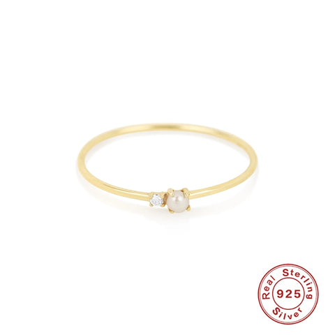 Simple Ring With Diamond Pendant Gold Ring