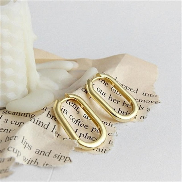 Unique oval clip-on stud earrings