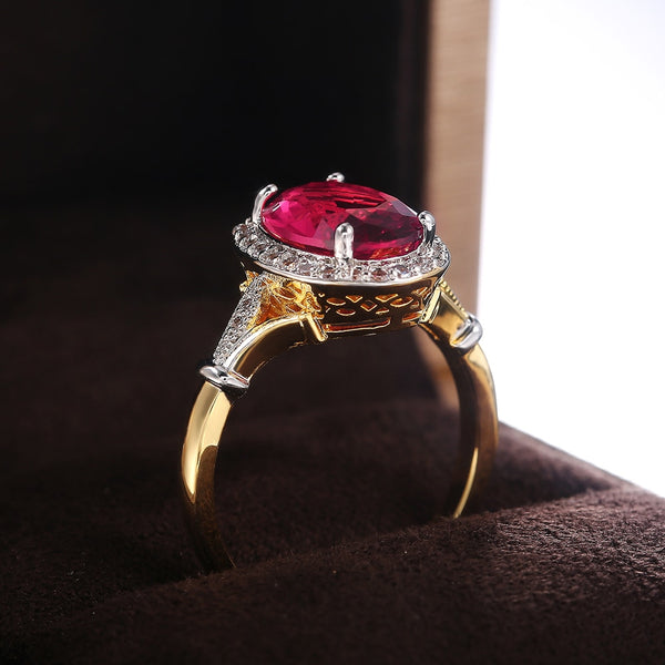 Luxury Big Red Crystal Stone Gold Ring