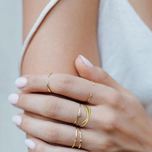 Charming Double Layered Geometry Pattern Gold Ring