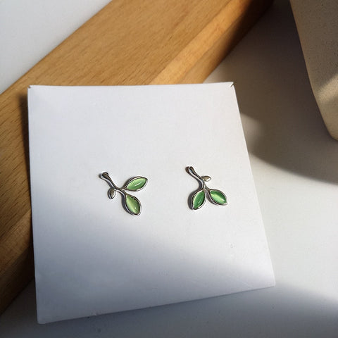 Cute Two-Petal green leaf stud earring