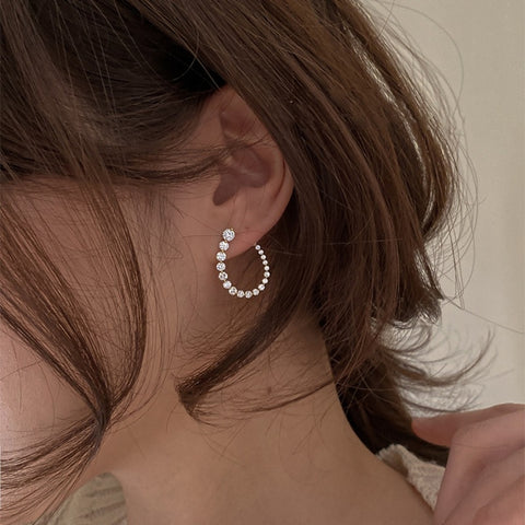 Unique Dazzling Petite Crystal oval loop earring