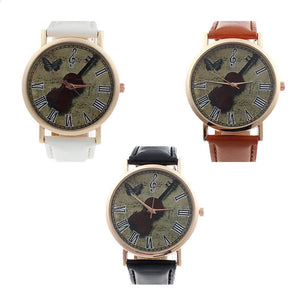 Violin Analog Quartz Dial Wrist Watch