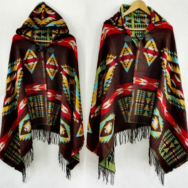 Natural Poncho with tassel
