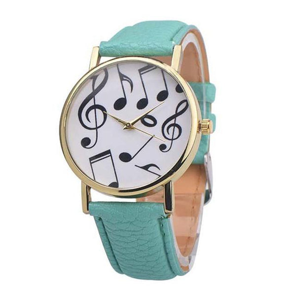 Musical Notes Leather Band Analog Quartz Watch