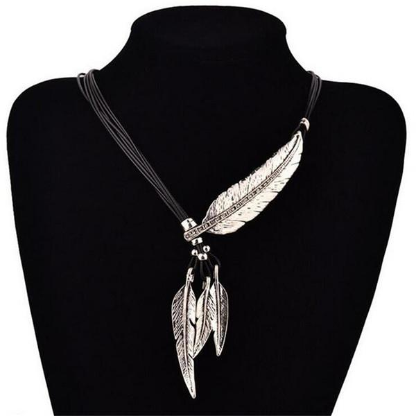 Fashion Alloy Feather Necklaces Pendants Rope PU Leather Collier Vintage Maxi Necklace Women Jewelry Bijoux Accessories