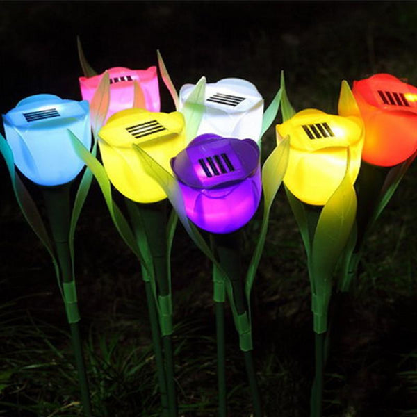 Outdoor Garden LED Light Solar Powered Tulip Lawn Lamp