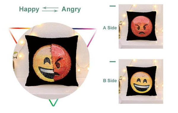 Awesome Changing Face Emoji Sequin Pillow Cases