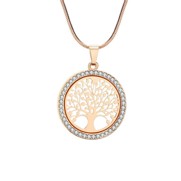 Tree of Life with Crystal Round Small Pendant Necklace