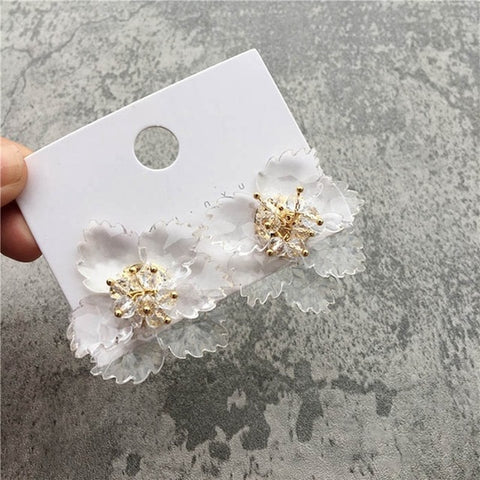 Beautiful Transparent Acrylic Multi-Petal flower with gold middle stud earrings