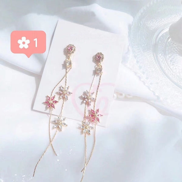 Beautiful Pink Flower long dangling earring