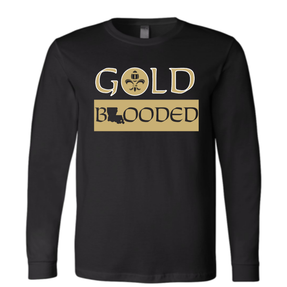 Gold Blooded Long Black Tee