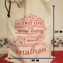 Load image into Gallery viewer, RESUABLE PERSONALIZED CHRISTMAS EXPRESS SANTA SACK