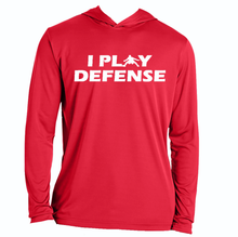 Load image into Gallery viewer, I PLAY DEFENSE SLIM FIT PERFORMANCE WORKOUT HOODIE All Colors