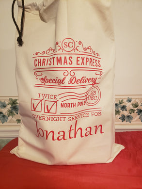 RESUABLE PERSONALIZED CHRISTMAS EXPRESS SANTA SACK