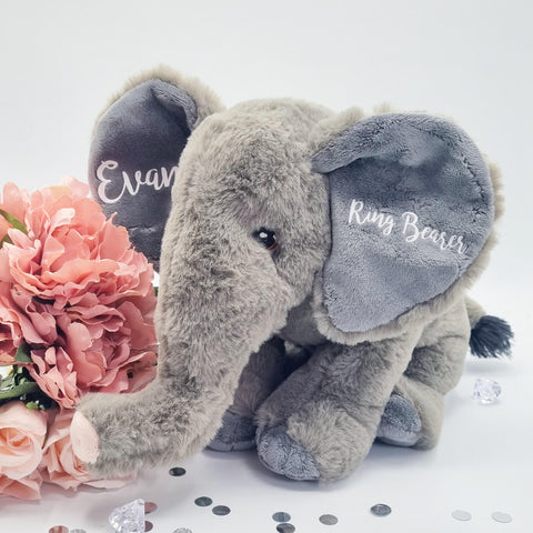 Personalised Grey Elephant Gift for Ring Bearers