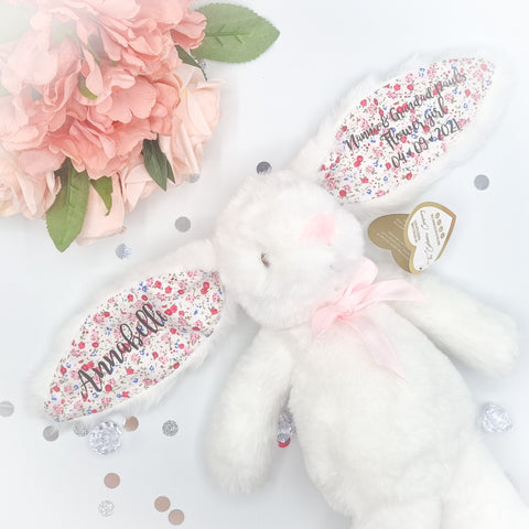 Personalised White Floral Bunny Gift for Flower Girls