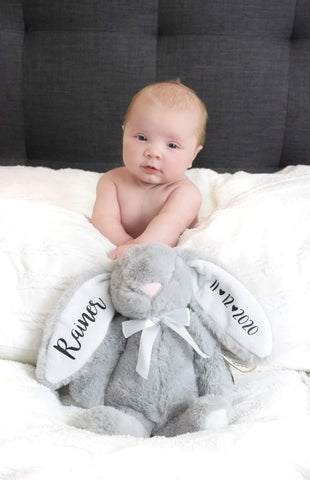 Grey Baby Bunny For New Babies Personalised White Ears