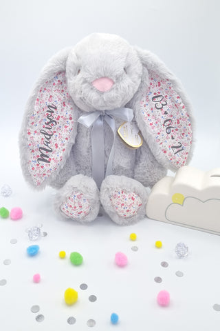 Grey Floral Bunny Personalised Gift for New Baby