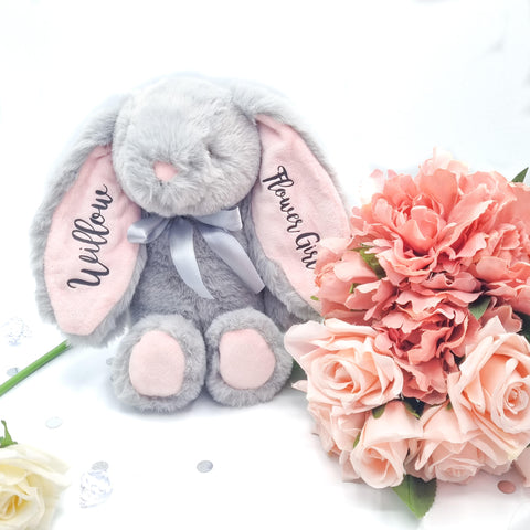 Grey Bunny With Pink Ears Personalised Gift