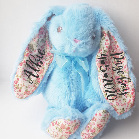 Blue Floral 8 Inch Page boy Bunny Rabbit