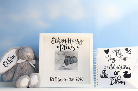 Personalised Baby Scrapbook, Frame & Bunny