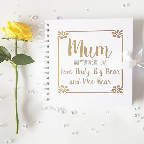 Mum, Happy Birthday White Scrapbook