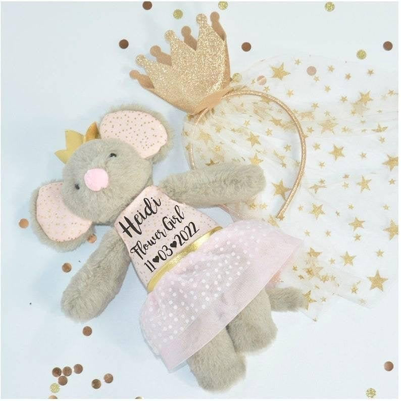 Luxury Classic Flower Girl Mouse Soft Toy