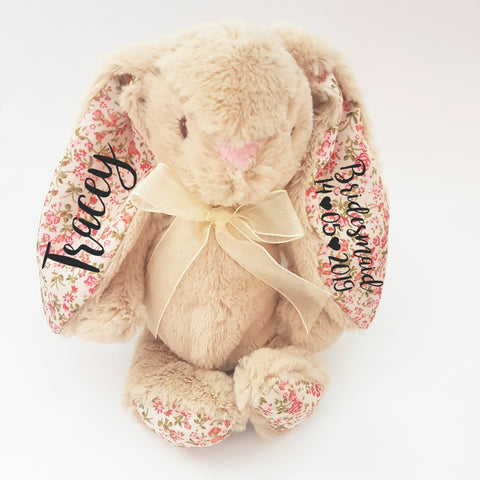 Beige Floral 8 Inch Bridesmaid Bunny Rabbit