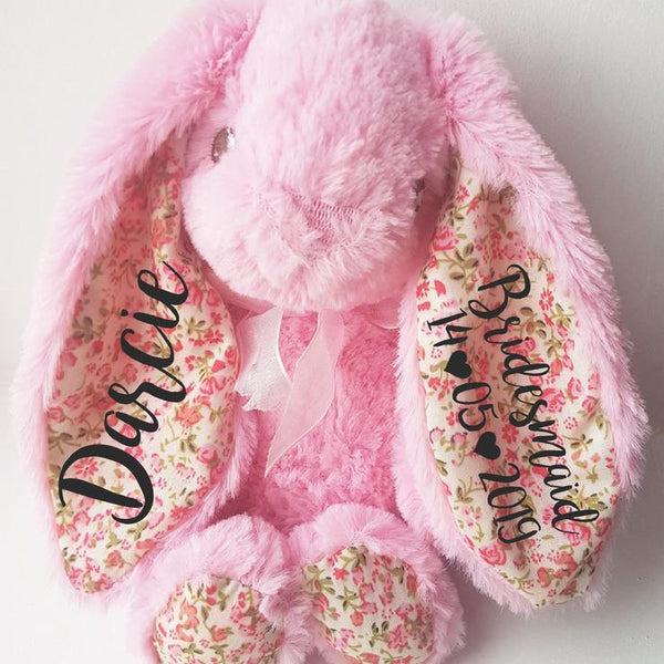 Pink Floral 8 Inch Flower Girl Bunny Rabbit