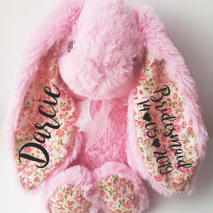 Pink Floral 8 Inch Bridesmaid Bunny Rabbit