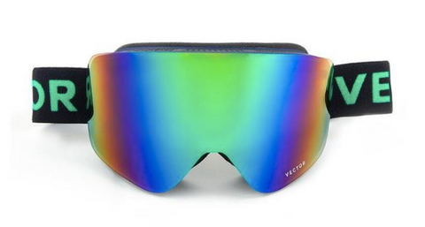 Tasman Black & Green Snow Goggles