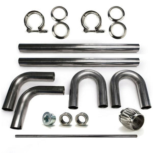 "2.5"" 304 Stainless Mandrel Bend DIY Kit Exhaust V-Band Clamp Flex Coupler 90 180"