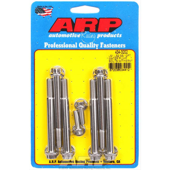 ARP 12 PT LS WATER PUMP BOLT KIT (w/ thermostat bolts) ARP 434-3202