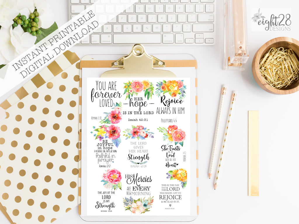 Floral Bible Verses Mini Cards- PDF DOWNLOAD Tags,Bookmarks, Journal Cards