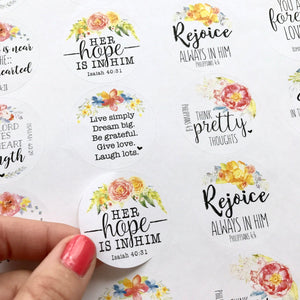 Floral Bible Verse - Shipping Stickers Round – Eight28Designs