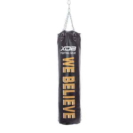 XOB Strike LEATHER Heavy Punching Bag (Filled) - 150 lbs. - 55 x 14 inches - Black & Gold