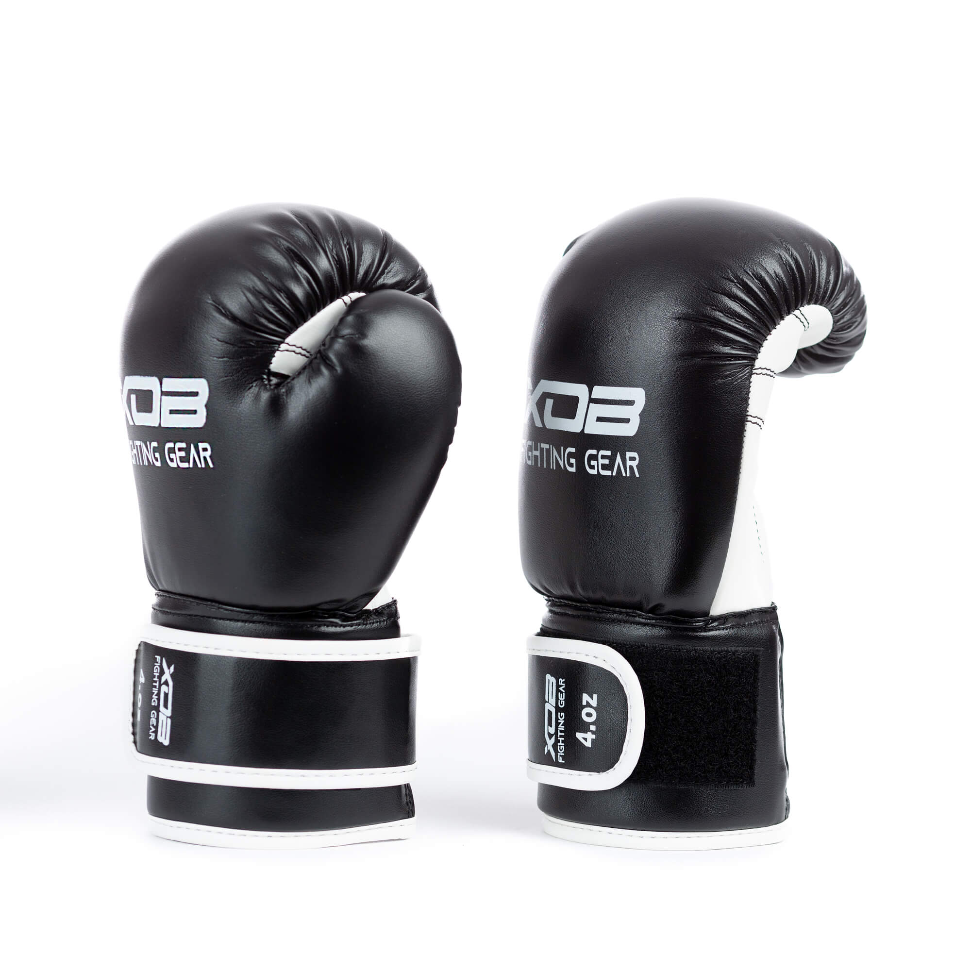 XOB Kidz Velcro Boxing Gloves - Black & White