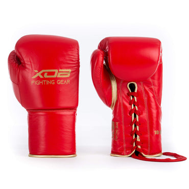 XOB Original Laced Boxing Gloves - Red & Gold