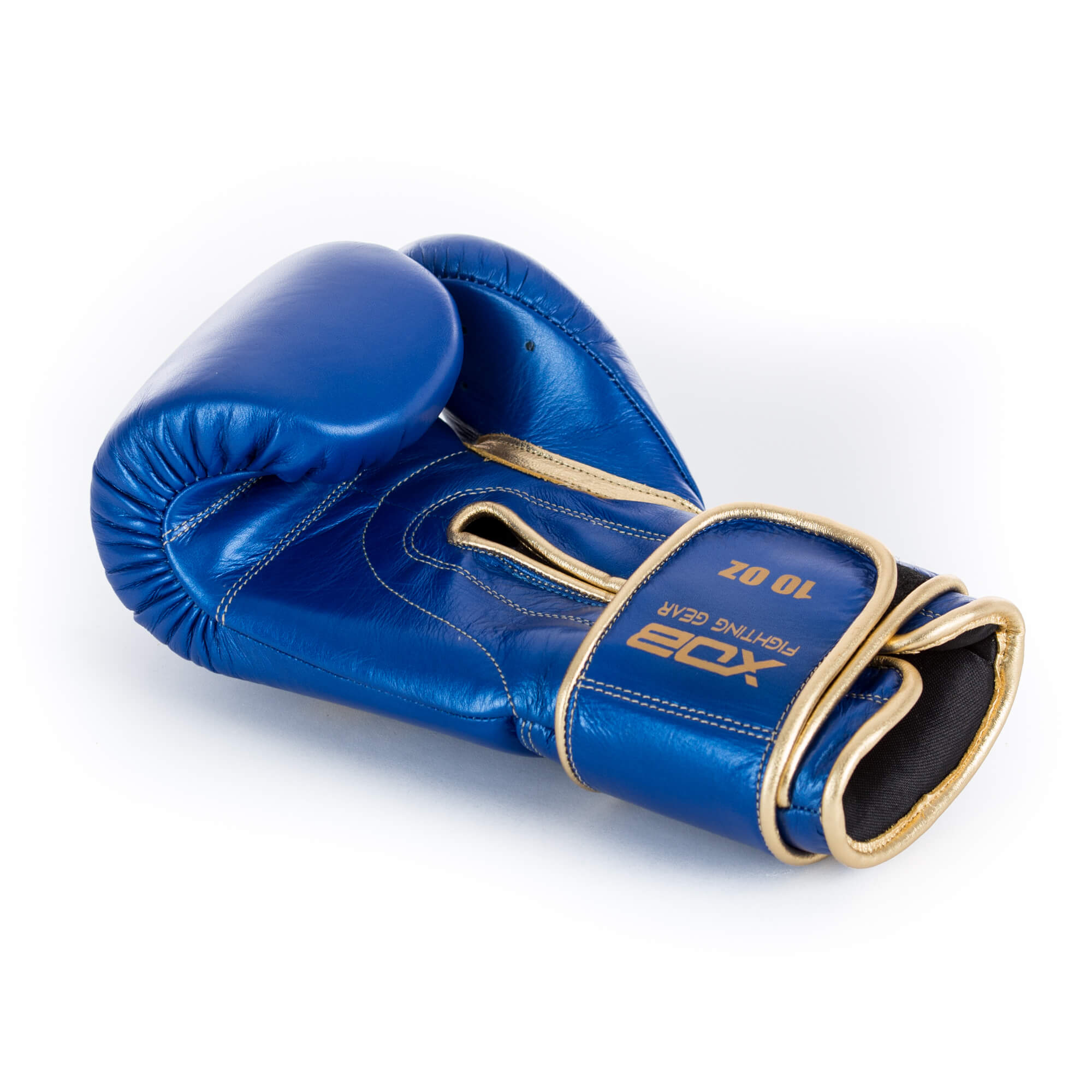 XOB Original Hook and Loop Boxing Gloves - Metallic Blue & Gold