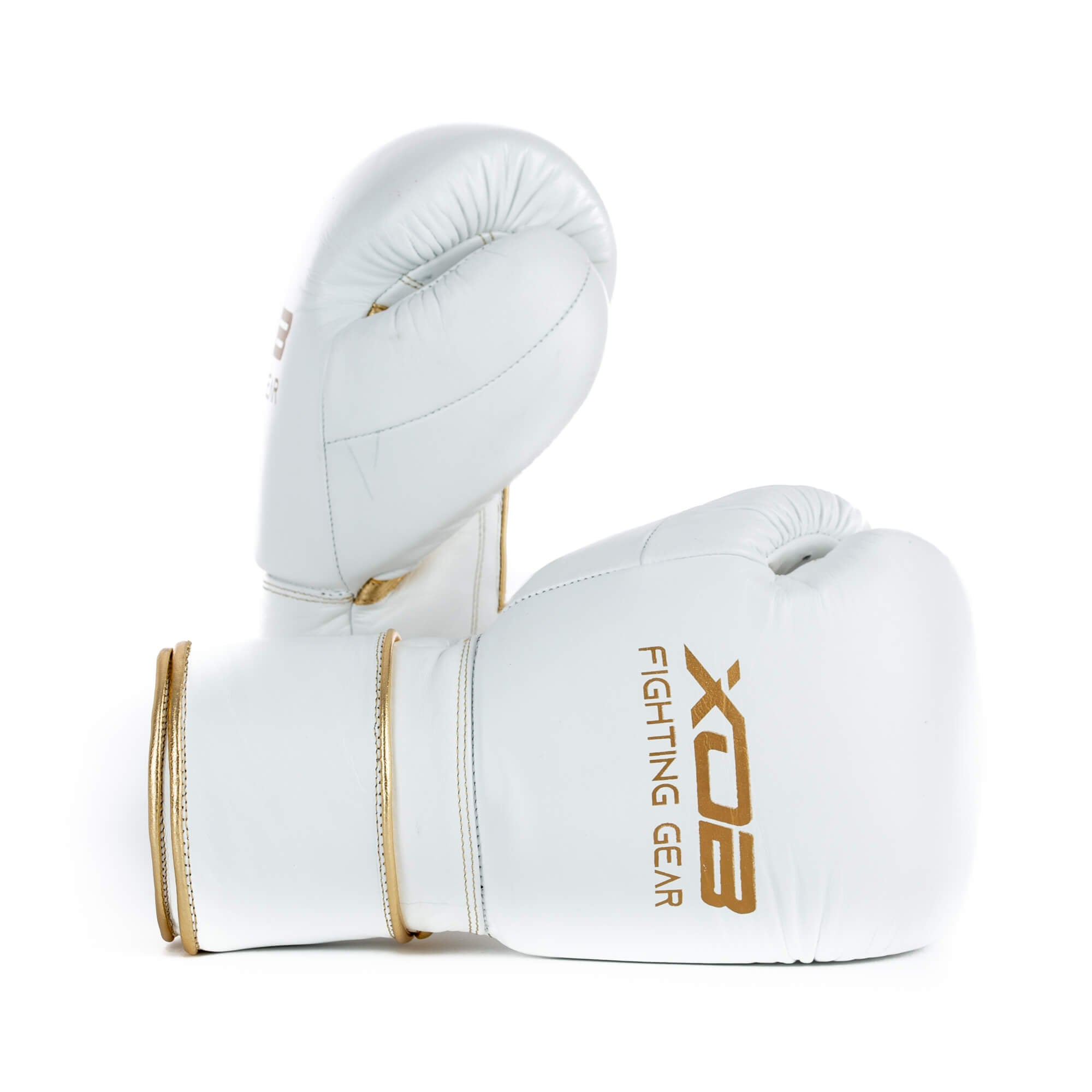 XOB Original Hook and Loop Boxing Gloves - White & Gold
