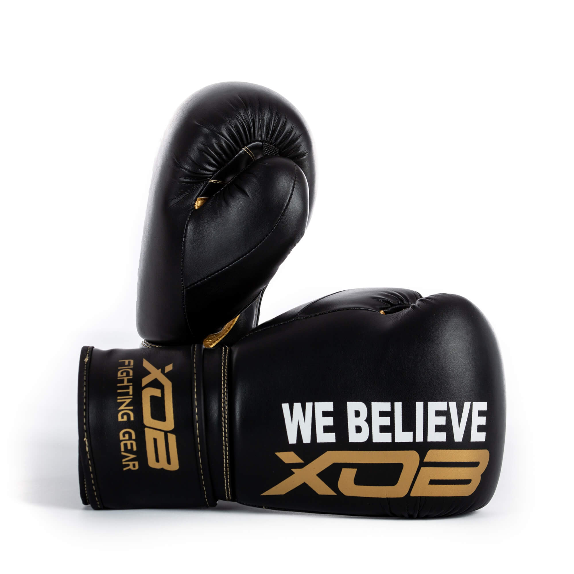 XOB Shadow Hook and Loop Boxing Gloves - Black & Gold