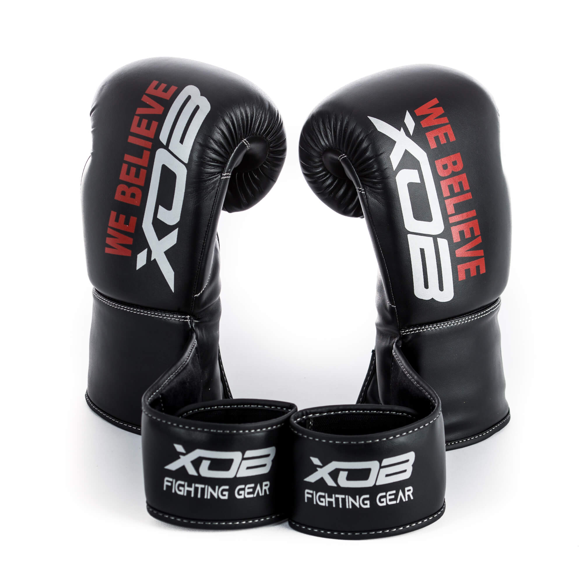 XOB Shadow Velcro Boxing Gloves - Black & Silver