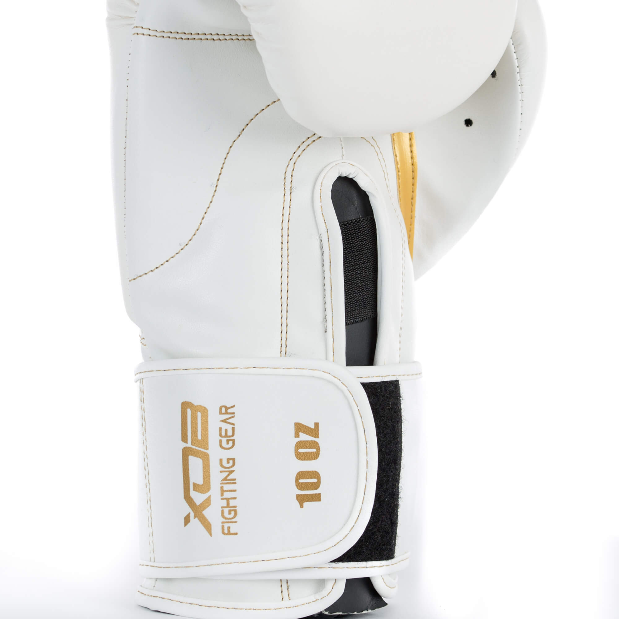 XOB Shadow Hook and Loop Boxing Gloves - White & Gold