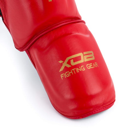 XOB Swat Shin Guard (genuine leather) - Red