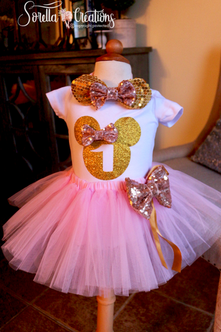 Red Minnie Mouse First Birthday Girl Outfit Sorella Creations Shop