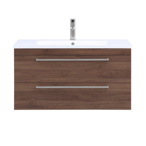 Stufurhome Riley 36 inch Wall Mounted Single Sink Bathroom Vanity, No Mirror