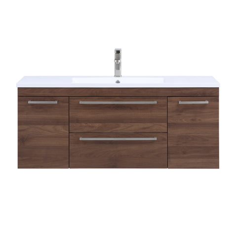 Stufurhome Riley 48 inch Wall Mounted Single Sink Bathroom Vanity, No Mirror